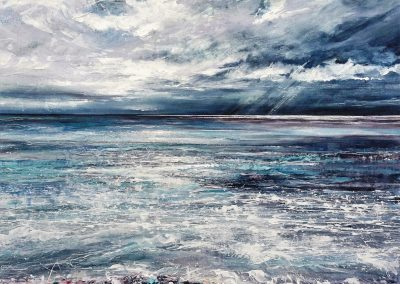 A Gentle Roar in the Sea Melanie Cormack-Hicks Studio Painting 100cmx100cm framed