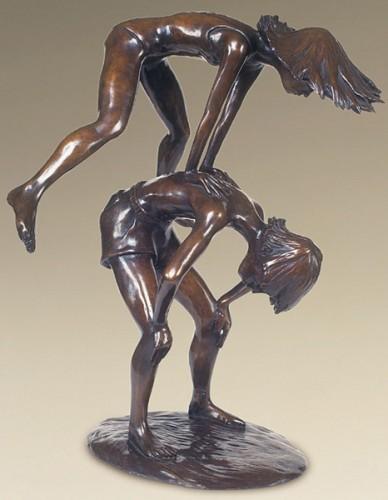 Leapfroggers, Bronze, 21 x 15 x 15 inches, Ric James
