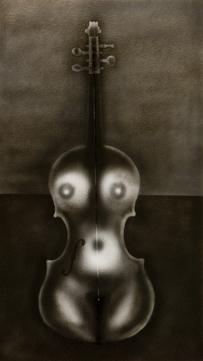 The Violin, Watercolour, 64 x 36 cm, Ric James