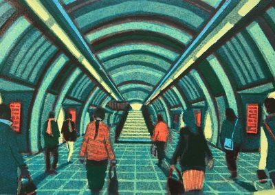 Gail-Brodholt-London-Bridge-Undergound-linocut