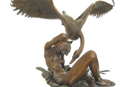 Leda and the Swan, signed bronze