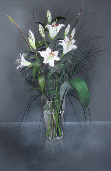 Lillies, signed pastel, 29 x 21 inches