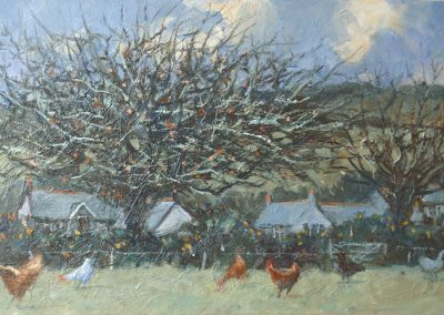 Winter Hamlet, Blackthorn and Chickens