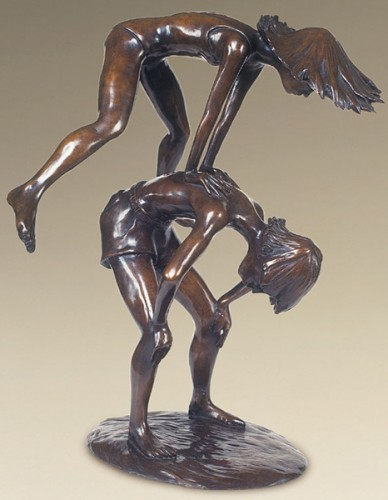 Leapfroggers, Bronze, 21 x 15 x 15 inches, Ric James