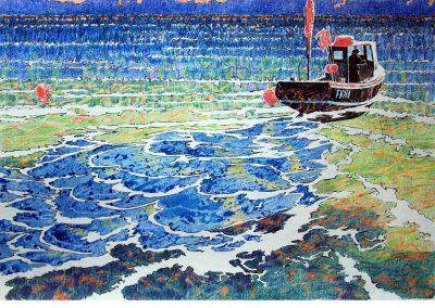 Boat Wake, Bright Water.